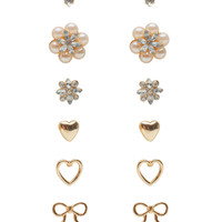 RS Pearl Flower + Dainty Open Metal 6 Pair Earring Set