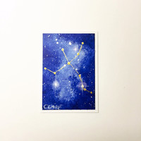 Constellation Painting ACEO, Cygnus in Blue Nebula Artist Trading Card, Original Acrylic Art