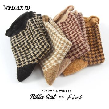 SOCKS Women's Lovely Frilly Houndstooth Socks Plaid Cotton Ruffles Socks
