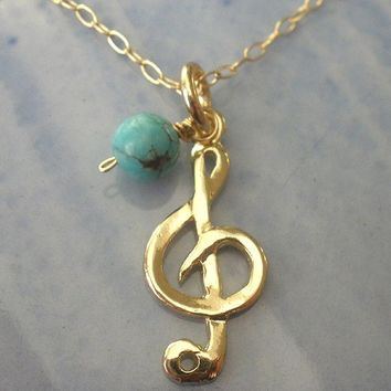 TREBLE CLEF music Necklace, Gold Filled necklace, gold music necklace, turquoise gold necklace, music charm necklace