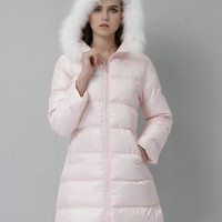 Pink Faux Fur Trim Hooded Long Coat