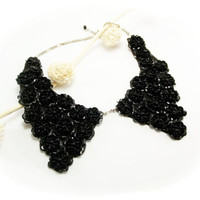 Peter Pan Collar Black Collar Necklace,Black Beads, Hand Sewn Beaded