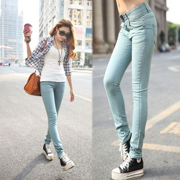 Light color 8809 3 breasted mid waist jeans female elastic slim pencil skinny pants = 1920366596