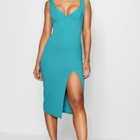 Joanie Structured Bust Split Detail Midi Dress | Boohoo