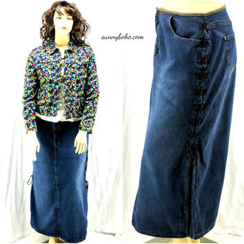 Denim maxi skirt size 2X leather lace up long jean skirt plus size 20 boho hippie long jean skirt SunnyBohoVintage