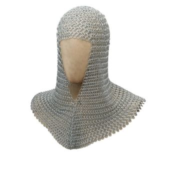 Metal Chain Mail Coif Medieval Armor, Silver