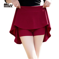 MISS 2016 Spring Women Pleated School Skirt Sun Mini Short High Waist Skater Skirts Red Solid For Red With Safety Pants T5B04