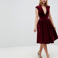 ASOS PETITE Deep Plunge Bonded Velvet Prom Midi Dress at asos.com