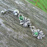 lucky 4 leaf clover belly ring 4 leaf clovers green beads silver in fantasy boho gypsy hippie  and hipster style