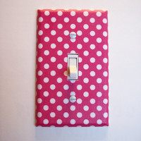 Pink & White Polka Dot Single Toggle Switchplate Switch Plate