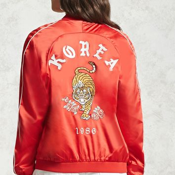 Korea Embroidered Satin Jacket