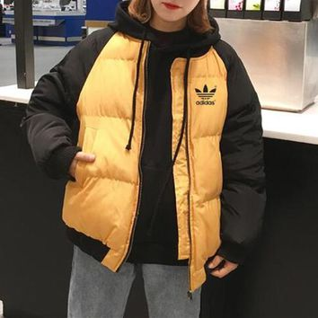 """Adidas"" Women Sport Casual Fashion Multicolor Zip Cardigan Thickened Long Sleeve Cotton-padded Clothes Coat"
