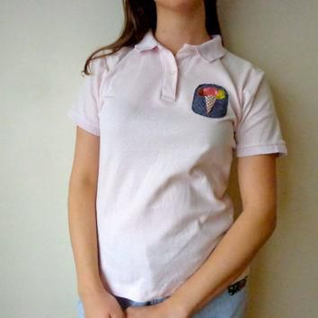 Rad Shirt // Ice Cream Cone Patch & Lacoste Polo Tee // Handmade // One of a Kind