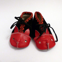 New Cute Booties Soviet Vintage Leather Baby Boots  Animal Face Black and Red Baby Shoes Made in USSR 1970s