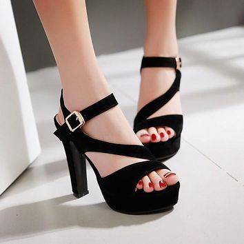 Fashion High Heels Suede Platform Prom Party Sandals
