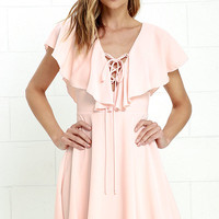 Tenderly Tangled Blush Pink Lace-Up Dress