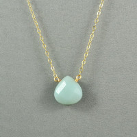 Beautiful Amazonite Heart Necklace, Natural Stone Bead, 14K Gold Filled Chain, also in Sterling Silver