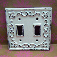 Fleur de lis Cast Iron Light Switch Plate Cover Double Wall Shabby Chic Distressed Rustic French Decor Creamy White White