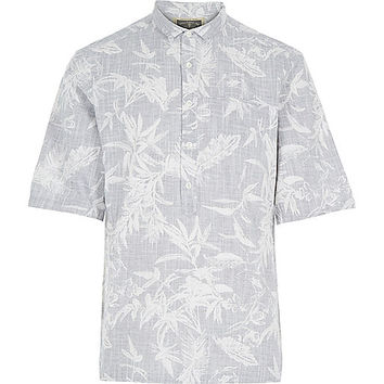 River Island MensGrey Holloway Road botanical print shirt
