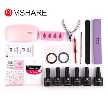 Nail Art Manicure Tools Set  6W Led Lamp +3Color 10ml UV Gel Base Top Coat Polish with French Tip Remover Practice Set File Kit
