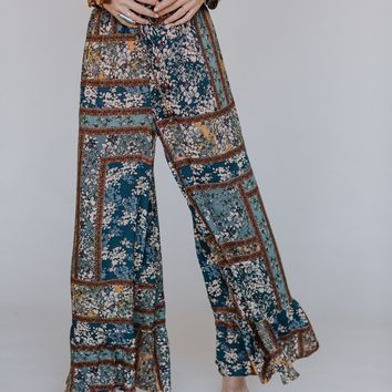 Hailee Ruffle Wide Leg Pants - Multi