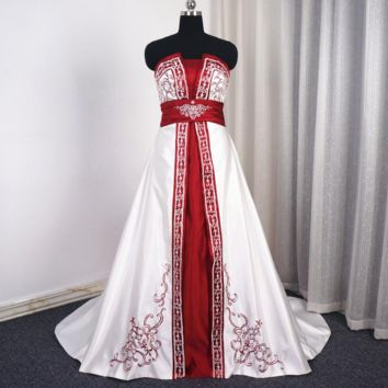 White Burgundy Satin Wedding Dress A line Embroidery Beaded Strapless Empire Bridal Gown