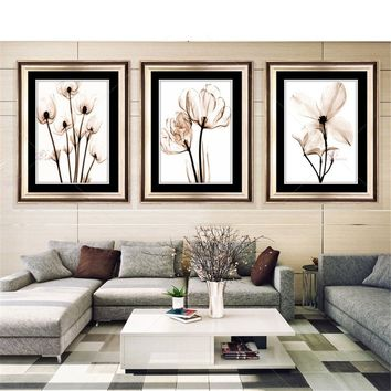 3Pcs Frameless Flower Wall Art Oil Painting On Canvas Home Decoration Simple Canvas Print Posters Modular Wall Pictures for Livi