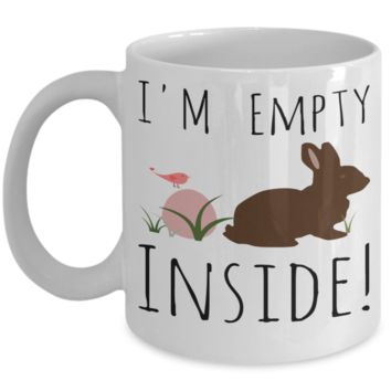 Rabbit Mug White Coffee Cup For Easter 2017 2018 Gifts For Him Her Family Grandparent Grandma Granddad Wive Husband Couples Funny Sayings Holiday Tea Coffee Mugs Cups Feel Empty Inside Bunny Rabbit Jar