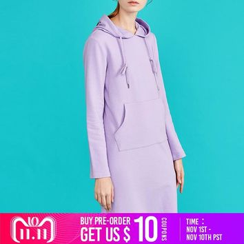 Toyouth New Autumn Long Sweater Dresses for Women Long Sleeve Pokects Maxi Ladies Dress Cotton H-Line Solid Vestidos Mujer