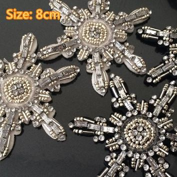 Snowflake beaded patch vintage embroidered applique DIY T-shirt jacket coat sweater sew on bag decoration patches