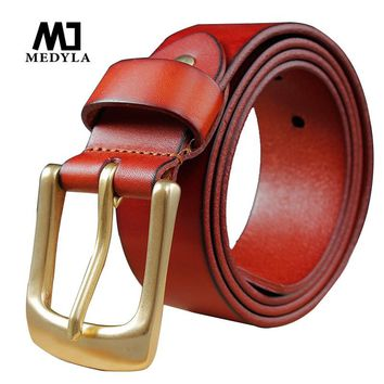 MEDYLA Vintage Men's Pure Head Layer Cowhide Leather Belt Buckle Type Pin Solid Brass Buckle Casual Cowboy Strap Luxury Belt