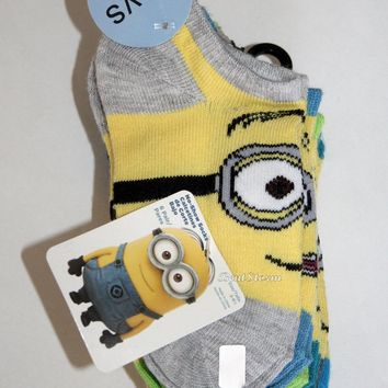 Licensed cool DESPICABLE ME Movie 6 PAIR Minions BOYS Crew Socks 5-6 1/2 UNIVERSAL STUDIOS NEW