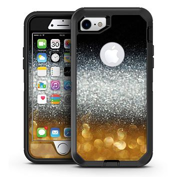 Unfocused Silver Sparkle with Gold Orbs - iPhone 7 or 7 Plus OtterBox Defender Case Skin Decal Kit