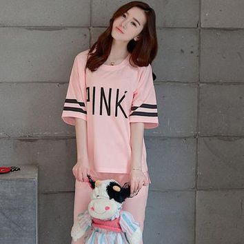 Fashion Summer Women Casual Ankle-length Pants Short Sleeve Alphabets Words Pajamas Sleepwear Trousers Pants _ 13488