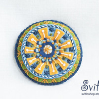Brooch Ethnic Art Sun | Textile Art Brooch | Yellow Green Blue Brooch | Textile Jewelry | Idea for Gift | Brooch Pin | Bright Juicy Colors