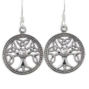 925 Sterling Silver Celtic Irish Knots Tree of Life Dangle Round Earrings Set