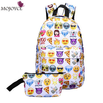 2017 Leisure Waterproof Nylon Women Travel Backpack 3D Smiley Emoji Face Printing School Bag for Teenage Girls 2pcs Bag Mochila