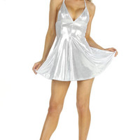 White Metallic Mini Dress With A Flaired Skirt