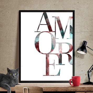 Amore, Typography print, Typography wall art, Love Print Poster, Boyfriend gift, Girlfriend gift, Home Decor, Wall Art, Art Print(302)