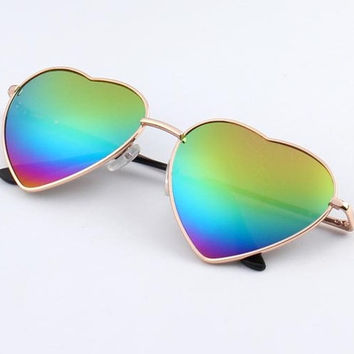 Heart Shaped Sunglasses w/ Reflective Phototropic Lenses!