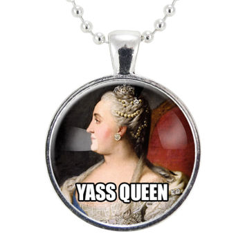 Yas Queen Necklace, Feminist Jewelry, Yass Kween Girl Power Feminism Pendant