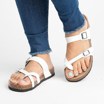 Criss Cross Footbed Sandals - White