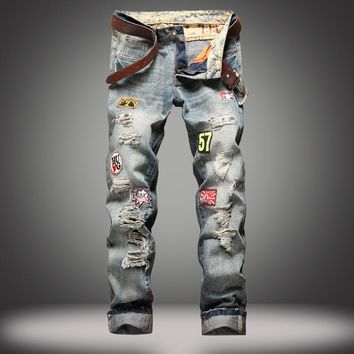 Men Ripped Holes Weathered Slim Pants Jeans [1922680029277]