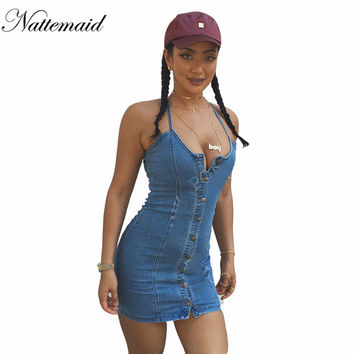2016 Sexy Women Blue Denim Dress Brand new Slim Jeans Dresses One-piece Cowboy vintage bodycon Mini Vestidos one line Button