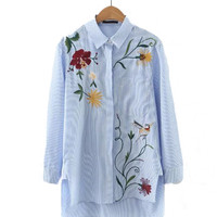 Stripe Floral Embroidery Long Sleeve Blue Shirt