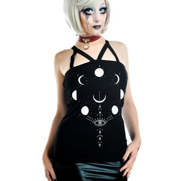 Moon Phases Witch and Evil Eye Black Strappy Tank Top