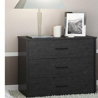 3 Drawer Chest of Drawers Dresser Black Oak Wood Bedroom Furniture Night Stand