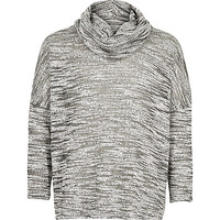 Girls grey space dye cowl neck top