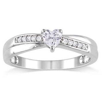 Heart-Shaped Lab-Created White Sapphire and Diamond Accent Promise Ring in Sterling Silver - Save on Select Styles - Zales