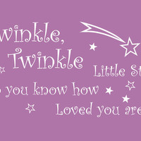 Baby Nursery Twinkle Twinkle Wall Decal Wall Sticker Girl Baby Nursery Room Wall Art 23Hx39W - 011